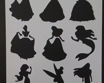 Disney Princess Ariel Belle Tinkerbell + Custom Stencil FAST FREE SHIPPING