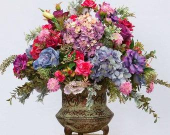 XL Silk Floral Arrangement, Jewel Tone Arrangement, Silk Floral Centerpiece, Luxury Floral Design, High End Arrangement, Table Centerpiece