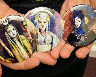 "Padme Amidala pinback buttons, pack of three, 2 1/2"" - Star Wars fanart - George Lucas, Natalie Portman, sci-fi, movies, costume art"
