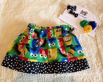 Sesame Street skirt, black and white polka dot band skirt, birthday outfit, skirt and bow set, girls skirt, toddler skirt, elmo skirt