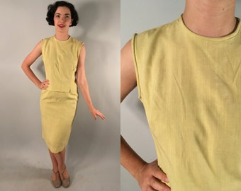 Vintage 1950s Set | 50s 60s Two Piece Yellow Slubbed Linen Suit by 'Fritzi of California' | Extra Small