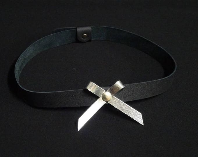 J-Choker - Silver Chrome Bow - Handmade in Australia using genuine Australian kangaroo leather.