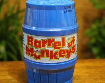 Vtg Barrel of Monkeys Child's Game 1989 SEALED Blue Barrel Age 3 And Up Collectible Gift New Old Stock Milton Bradley