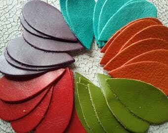 Leather die cut teardrops Size  2 1/4  long X 1 inch wide 30 total. Bright colors Great for your leather jewelry making