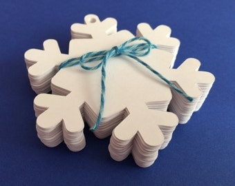 50 White Snowflake Tags, Winter, Snow, Crafting,  Scrapbooking, Card Making