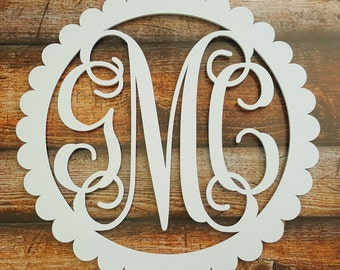 Painted Wooden Initials - Wooden Monogram - Scallop Border - Wooden Monogram Wall Hanging