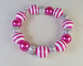 Pink Beaded Streatch Braclet