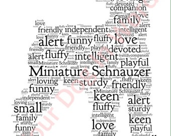 Miniature Schnauzer dog unique personalised word art print A4