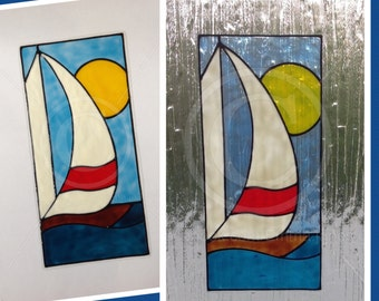 Boat / Sail boat window cling for glass & window areas, reusable faux stained glass effect decal, static cling suncatcher decals