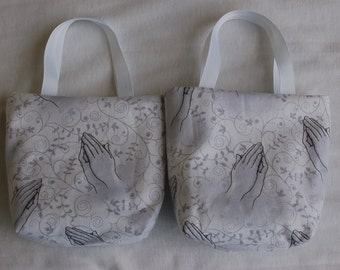 Set of 2 Fabric Gift Bags, Religious Gift Bags, First Communion, Confirmation- Praying Hands