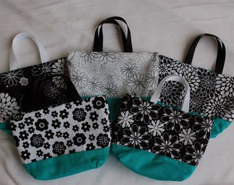 Set of 5 Fabric Gift Bags/ Party Favor Bags- Black and White Floral