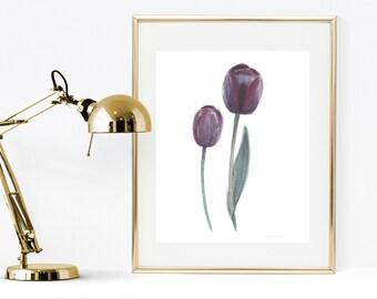 Watercolor tulips instant download print, black tulip wall art print, watercolor flowers wall art, botanical print watercolor tulips