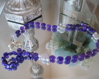 Purple Pearls, White Pearls, Swarovski Clasp with Pearls