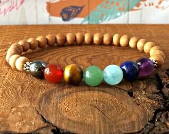 7 Chakra Bracelet with Sandalwood, Wrist Mala Beads, Yoga Bracelet, Buddhist Meditation Bracelet, Healing Chakra Jewelry