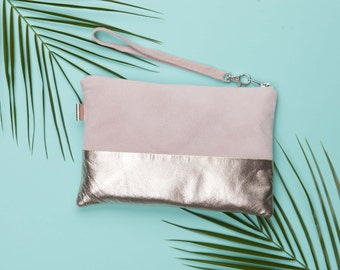 Pink Rose Gold Metallic Leather Clutch // Wedding Clutch // Leather Clutch Purse // Evening Clutch // Clutch Purse
