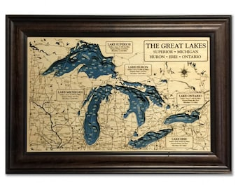 Great Lakes 3D Wood Carved Depth Contour Map - Customize With Your Lake and Home Information