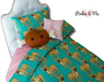 "18"" Doll Bedding 4 or 5 Piece Set ~ French Bulldog"