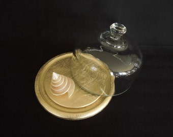 Glass Cloche or Bell Jar Gold Wood Base - Display Stand - Vintage Glass Cover - Wedding Anniversary Centerpiece