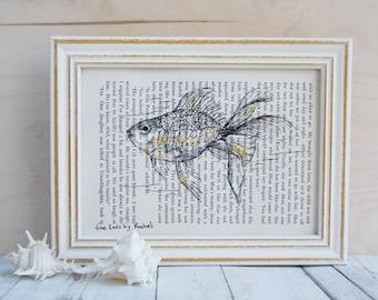 Dictionary art, Goldfish poster, Book art, Framed art, Hipster room decor, Nautical art
