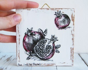 Miniature painting - pomegranate print, print on wood, Nature art, Wood signs, Hostess gift, Rosh Hashanah