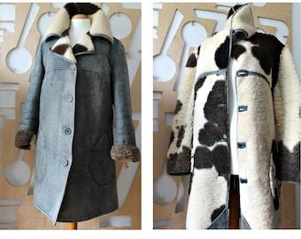Sheepskin jacket Fur Coat Suede coat Winter coat Shearling Hipster Grunge Folk Boho Hippie Festival Woodstock Gypsy Southwestern