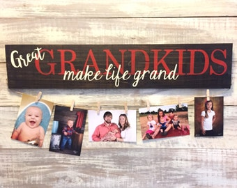 Great Grandkids MAKE LIFE GRAND hand painted sign - photo display grandchildren sign gifts for grandparents, picture holder, gift for grandp