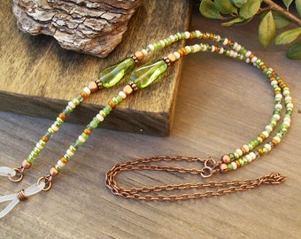Eye Glass Chain, Green Ivory Copper Reading Glasses Chain, Earthy Czech Glass Beaded Eyeglass Chain, Eyeglass Holder, Sunglasses Accessory