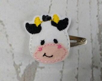 Fun-Cow-Felt-Hair Clip-Feltie-Snap clip-Hair Accessory-Farm Hair Clip