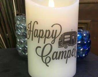 RV Decor - Happy Camper - Flameless Candle - Camper Decor - RV Gifts - LED Candle - Camper Gifts - Travel Trailer Decor - Home Decor