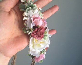 Tieback Flower Crown Headband, Newborn Photo Prop, Baby Tieback Flower Crown, Baby Flower Crown, Valentine's Crown, Girls Flower Crown