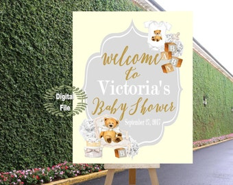 DIGITAL FILE Teddy Bear Baby Shower, Neutral Gender Shower, Welcome Baby Shower Poster,