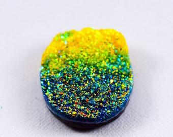 A++ Titanium Druzy Cabochon Multi Color Rainbow Glitter Loose Gems Stone Cts 42.20