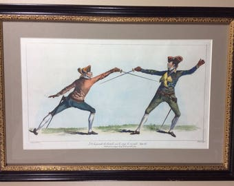 "Elegant, Hand Colored Engraving of ""The School of Fencing"" by Domenico Angelo."