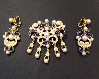 Vintage Demi Parure Goldtone Pearls Rhinestones Navy Blue Enamel Ornate Eyecatching Brooch & Clip On Earrings Mid Century Gift for Her