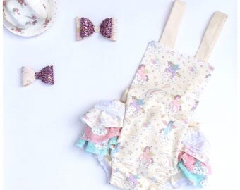 Baby romper - romper - baby girl romper - unicorn clothing - vintage romper - baby clothes