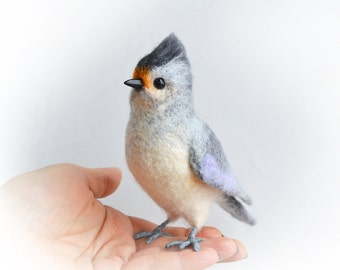 Realistic felt toy- Tufted Titmice - also known as Grey-crested Titmice. Wildlife lifelike felt art.