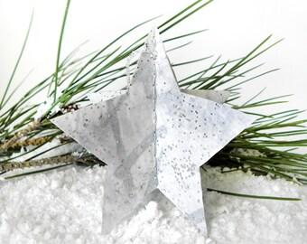Christmas Star Ornaments, Set Of 8, Paper Star Ornaments, Handmade Ornaments, Minimalist Christmas, Christmas Tree Decor, White Stars