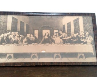 Last Supper Print, Black and White, Vintage Print, Wood Frame