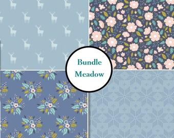 4 prints, Meadow, Camelot Fabric, deer, flower, blue, 1 of each print