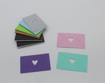 Envelope heart: set of die - cut cut-outs