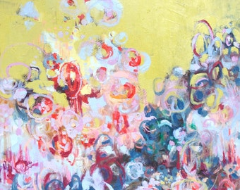 Abstract Oil Painting Print, Includes Mat, Playful Landscape, Bright Whimsical Colors