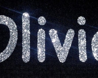 Personalised Name 7-12 Letters GLITTER Iron On / Hotfix - Comic Font
