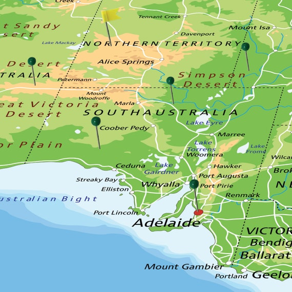 Large australia map poster with push pins world travel and world il570xn publicscrutiny Choice Image