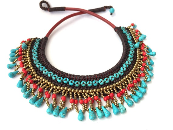 Length 19 inches Beautiful Necklace With Brass Beads, Red coral and Howlite Stone