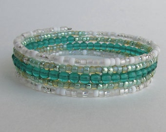 Memory wire bracelet in shades of Green, White and silver, Handmade Beaded Wrap Bracelet, Gift for her