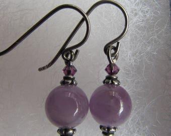 Hypoallergenic niobium amethyst gemstone and Swarovski Earrings, Amethyst Earrings, February Birthstone Earrings, Handmade Gift