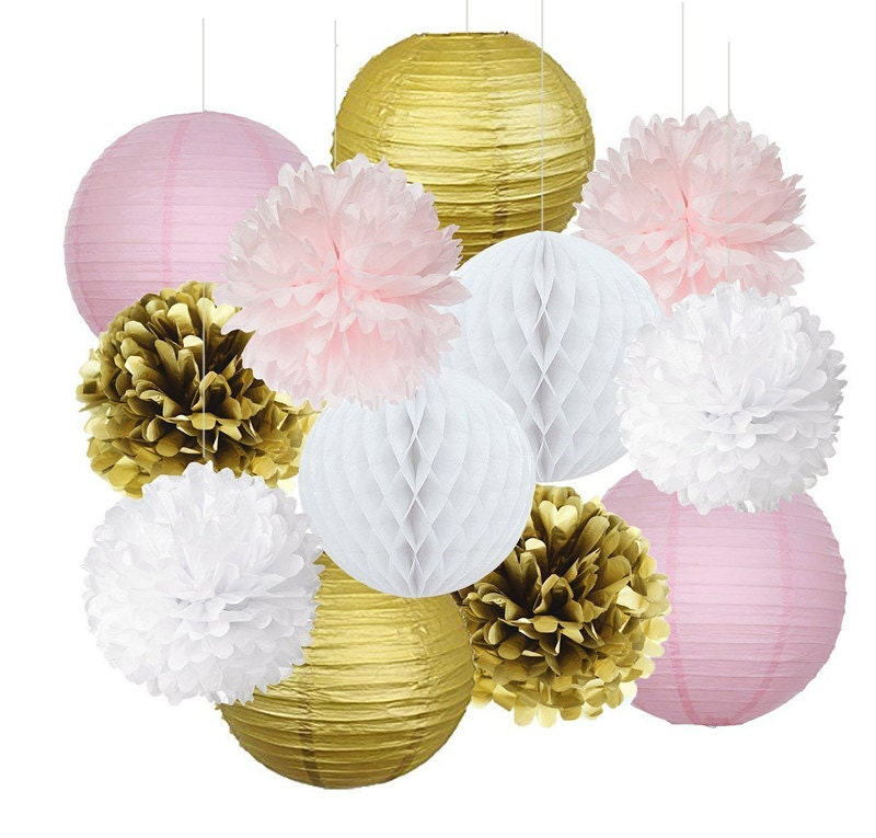 Set of pink gold party decoration kit tissue paper pom