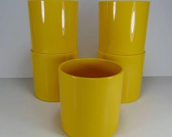 Vintage Dansk Yellow Melamine Plastic Stacking Tumblers, Set of 5