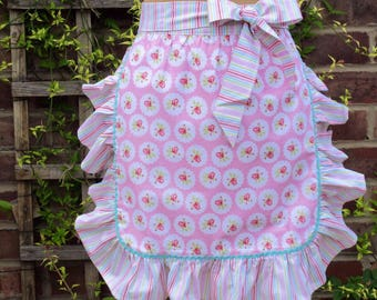 On Sale Vintage Style Apron,Ruffled Apron/Floral apron