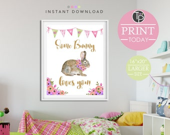 BUNNY WALL ART, Instant Download Print, Bunny Print, Rabbit Print, Digital Art, Bunny Printable, Nursery Print Girl, Rabbit Girl Wall Art